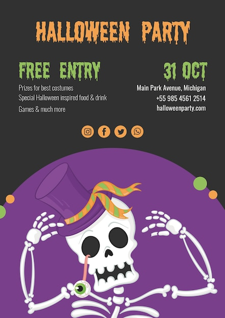 Spooky halloween party with skeleton Free Psd