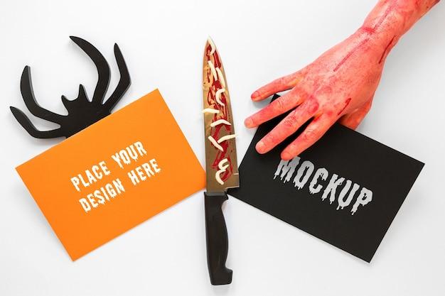 Design mock-up spettrale con coltello Psd Gratuite