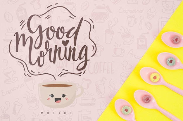 Spoons with colorful cereals and good morning message Free Psd