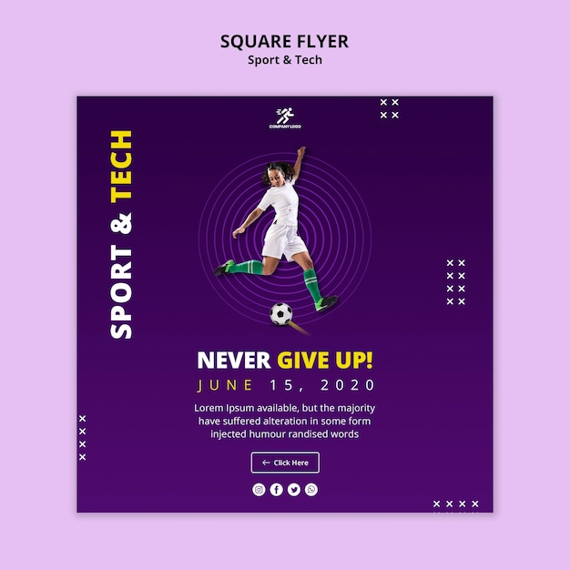 Sport activity with woman playing  football square flyer Free Psd