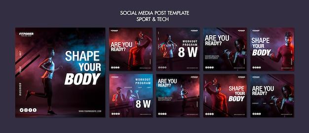 게시물 템플릿-스포츠 및 기술 소셜 미디어 무료 PSD 파일
