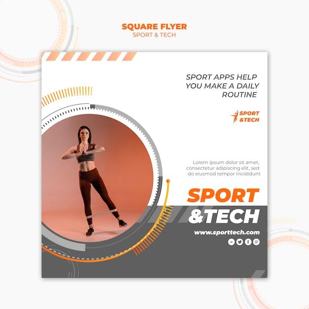 スポーツとテクノロジーのスクエアフライヤースタイル 無料 Psd