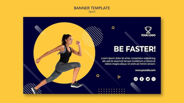 Sport banner template with woman exercising Free Psd