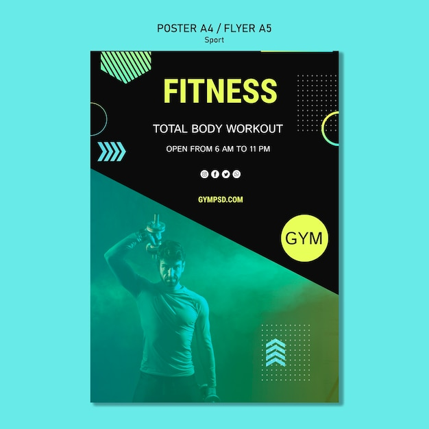 Sport business poster template Free Psd