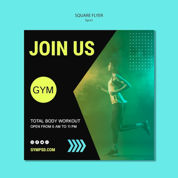 Sport business square flyer template Free Psd