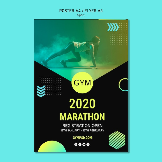Sport business template poster Free Psd
