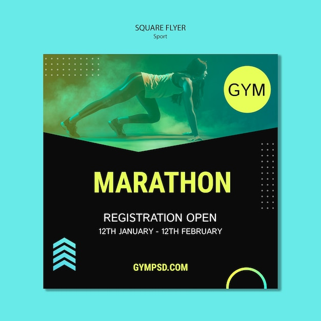 Sport business template square flyer Free Psd