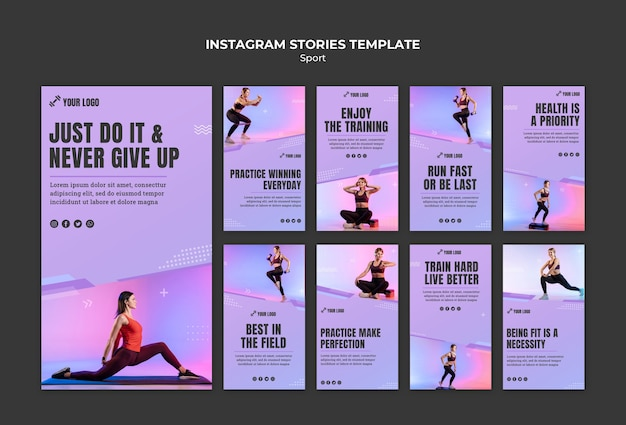 Sport concept instagram stories template Free Psd