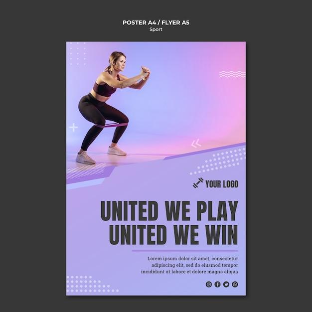 Спортивная концепция стиля плаката Бесплатные Psd
