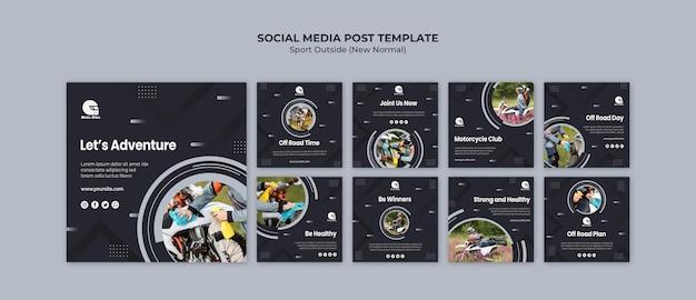Спортивная концепция шаблон поста в социальных сетях Premium Psd