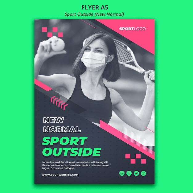 Sport outside concept flyer style Free Psd
