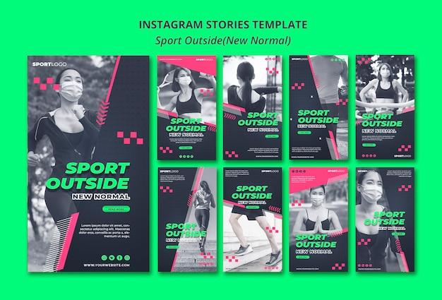 Sport outside concept instagram stories Free Psd