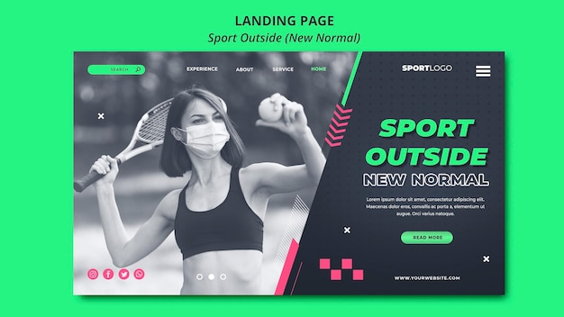 Sport outside concept landing page design Free Psd