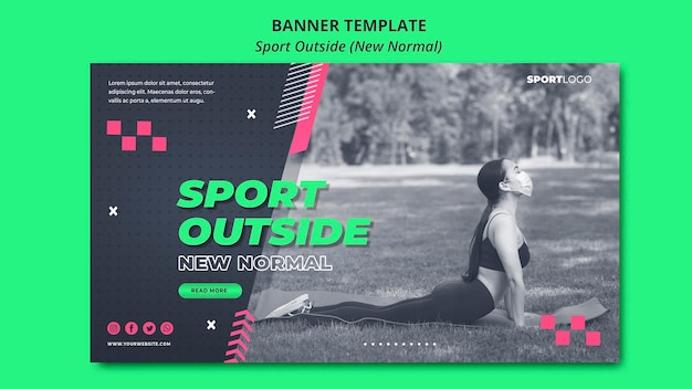 Sport outside concept new normal banner Free Psd