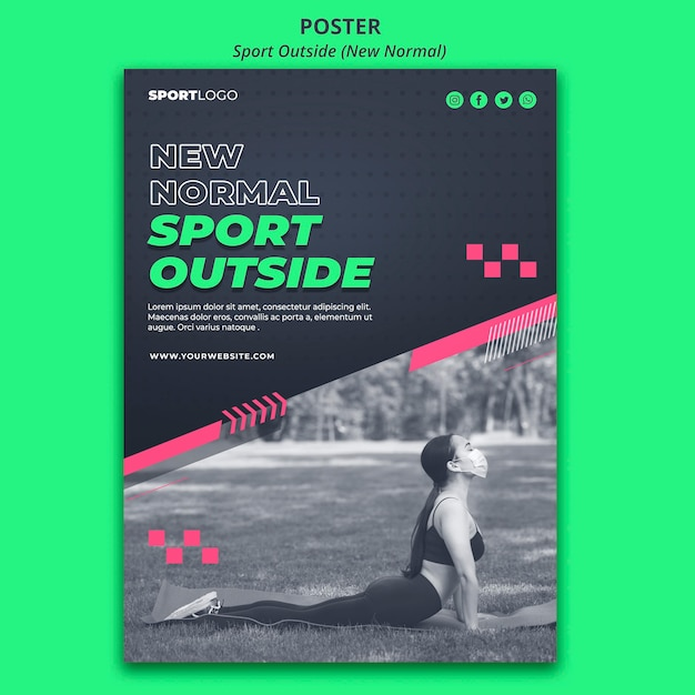 Sport outside concept poster design Free Psd