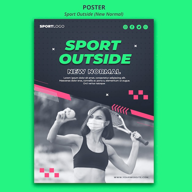 Sport outside concept poster style Free Psd