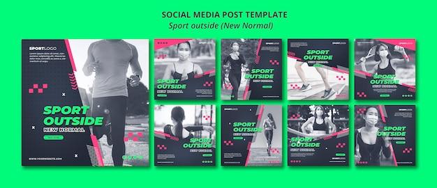Спорт вне концепции социальной сети Бесплатные Psd