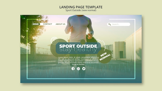 Sport outside landing page webtemplate Free Psd
