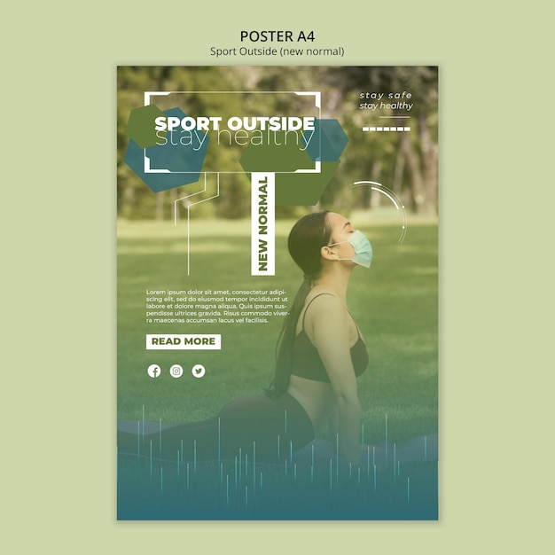 Sport outside poster template concept Free Psd