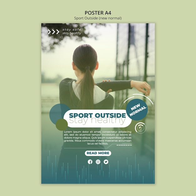 Sport outside poster template design Free Psd