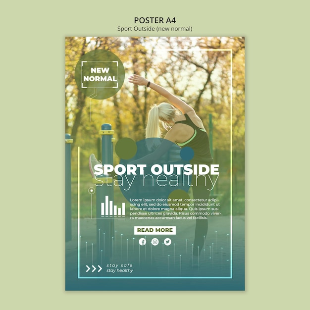 Sport outside poster template style Free Psd