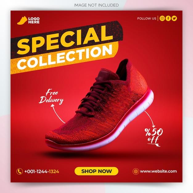 Sport shoes promotion social media post banner template Premium Psd