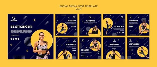 Sport social media post template collection Premium Psd