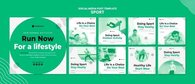 Шаблон сообщения в социальных сетях спорт Premium Psd