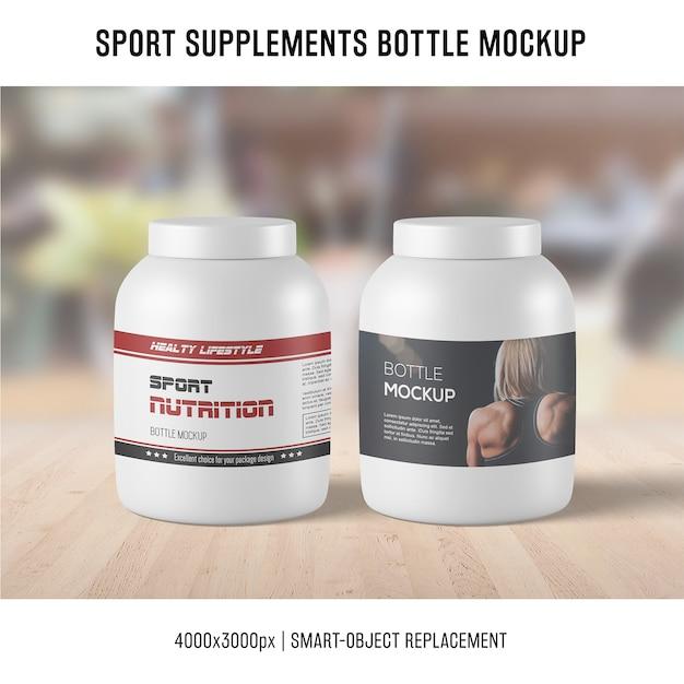 Sport supplements bottle mockup Free Psd