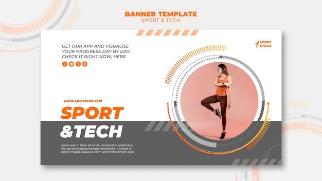 Sport e tecnologia modello di progettazione banner Psd Gratuite