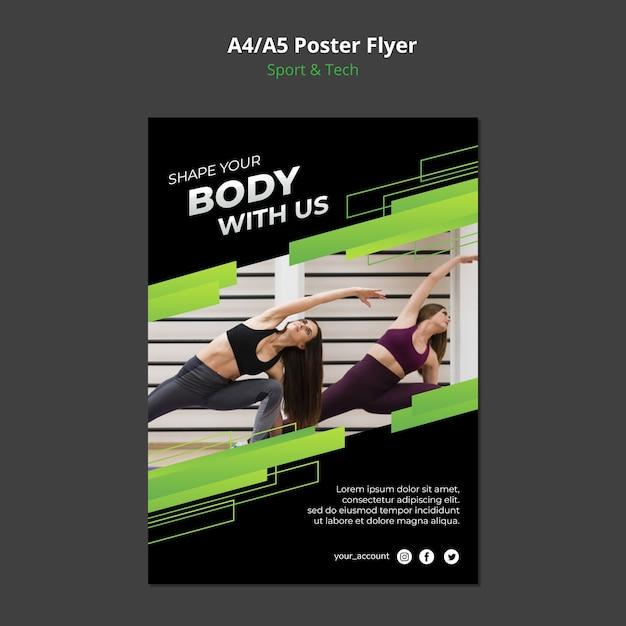 Sport & tech concept poster mock-up Free Psd