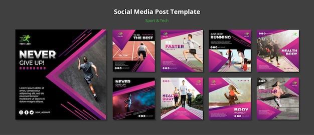 Sport & tech concept социальные медиа пост макет Бесплатные Psd