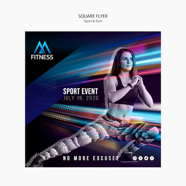 Sport and tech fitness square flyer Free Psd
