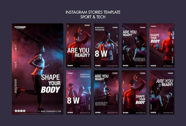 Modello di storie di instagram di sport e tecnologia Psd Gratuite