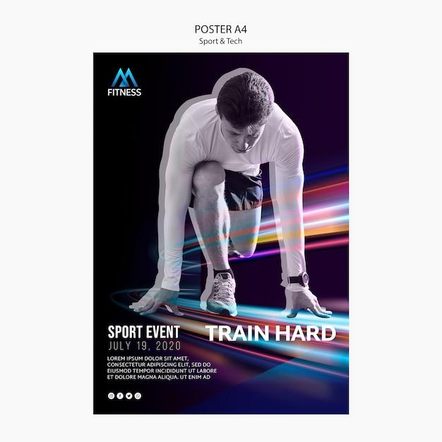 Sport and tech motivational poster Free Psd