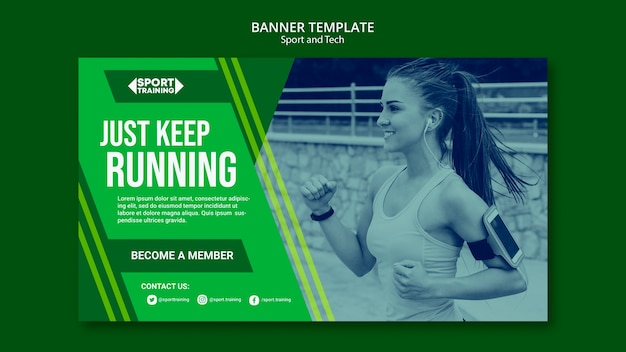 Sport and tech poster template Free Psd