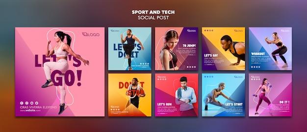 Шаблон поста в социальных сетях sport & tech Бесплатные Psd