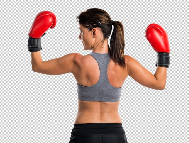 Sport woman with boxing gloves Premium Psd