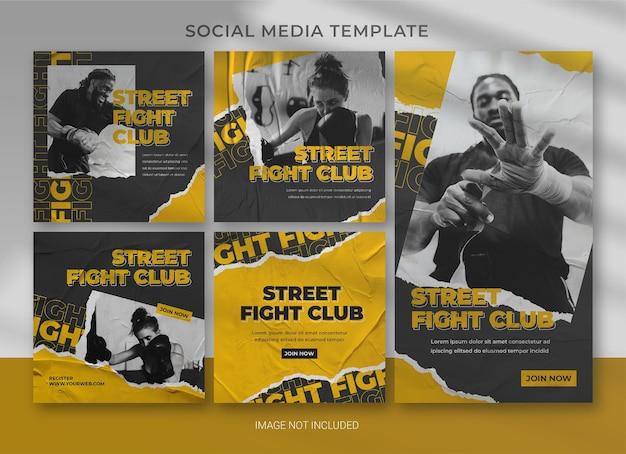 Дизайн шаблона пакета спортивных социальных сетей Premium Psd