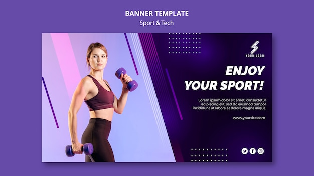 Sports and tech banner template with photo Free Psd