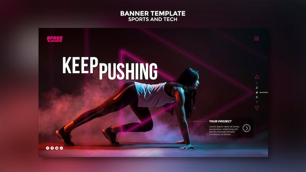 Sports and tech banner template Free Psd