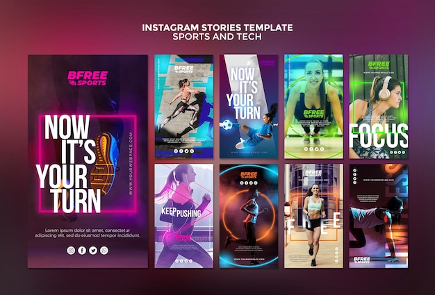 Sports and tech instagram stories Free Psd