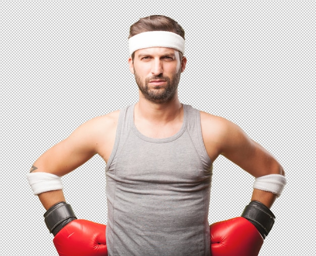 Sporty man with boxing gloves Premium Psd