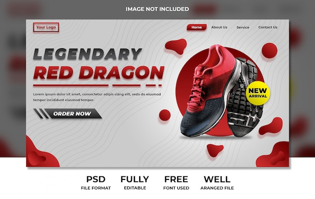 Sporty website landing page product showing red and white Premium Psd
