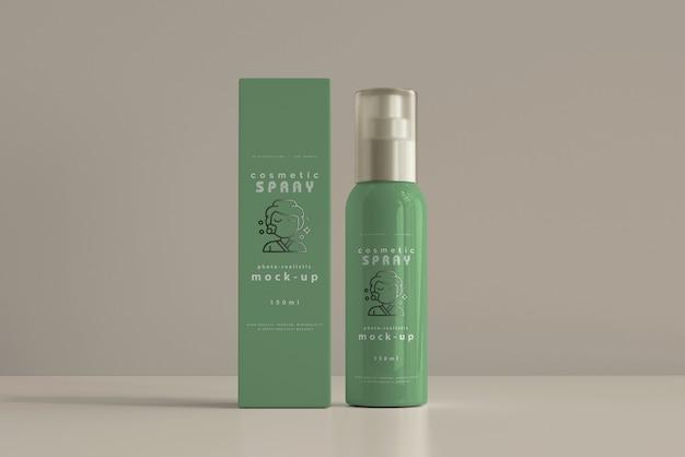 Spray bottle with box mockup Free Psd