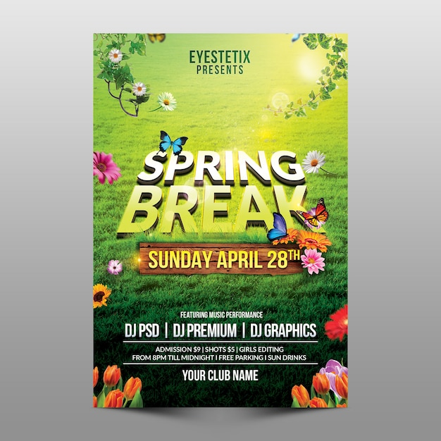 Spring break flyer Premium Psd