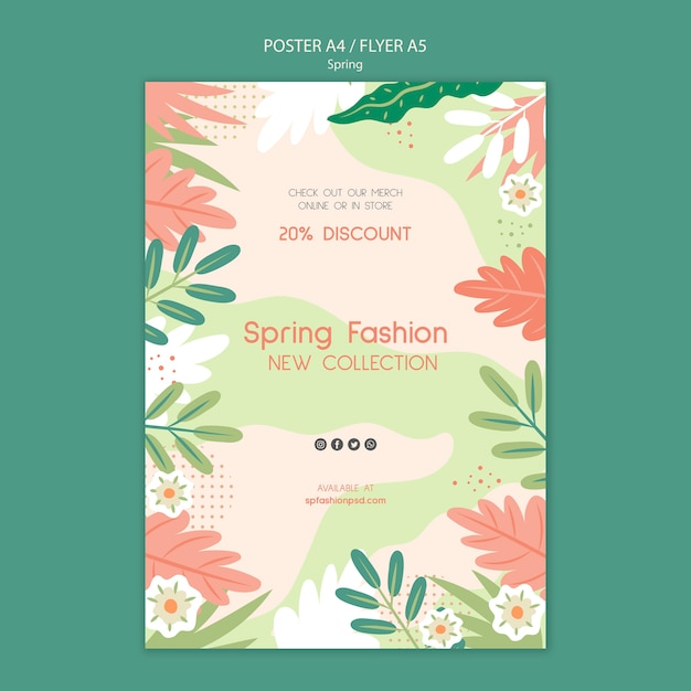 Spring collection poster template Free Psd