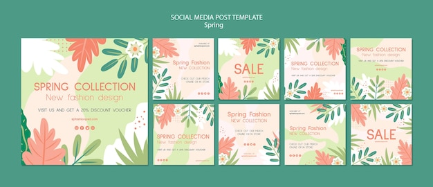 Spring collection social media post Free Psd
