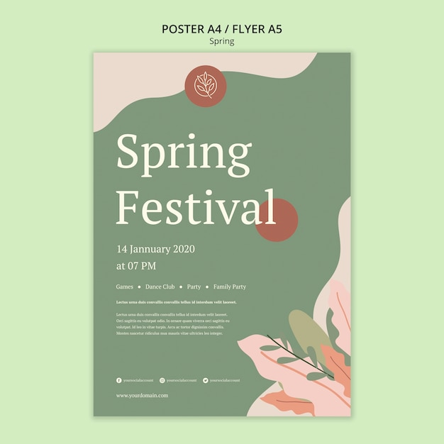 Весенний фестиваль постер с минималистичным дизайном и листьями Бесплатные Psd