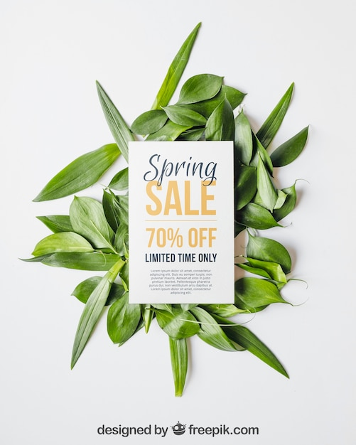 Spring mockup with card and leaves PSD file   Free Download
